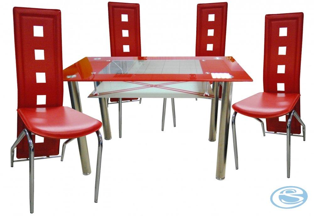 Jídelní sestava Montreal červená 1+4 - FALCO
