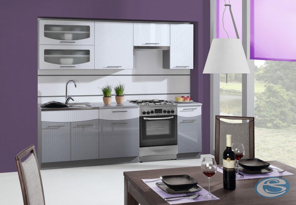 Kuchyně Smile 180/240 cm bílo/šedá - STOLKAR