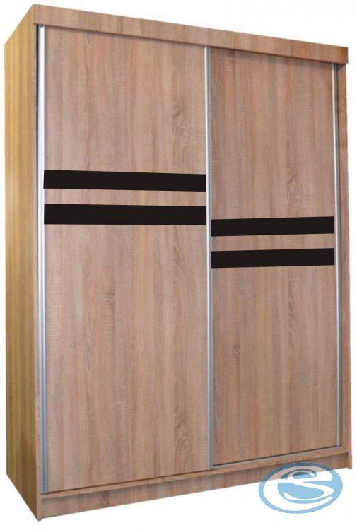 Šatní skříň Astra 200x150x60 dub sonoma+čersné sklo - FALCO