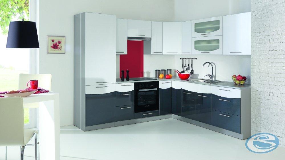 Kuchyně Smile 180/240 cm bílo/černá - STOLKAR