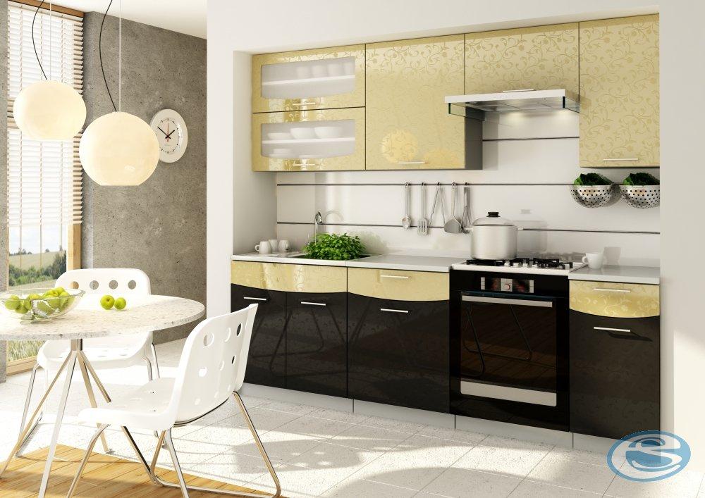 Kuchyně Smile 180/240 cm zlato/černá - STOLKAR
