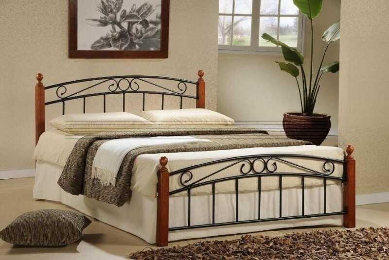 Kovová postel Dolores 160x200 ant.třešeň/černý kov - TempoKondela