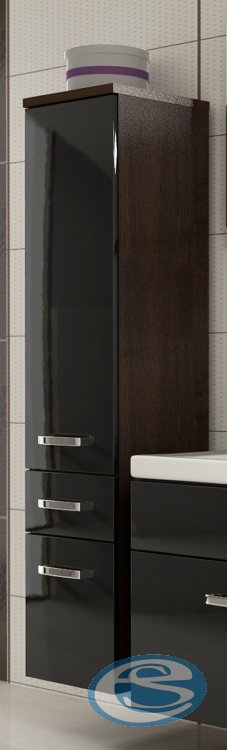 Koupelnová skříňka Evo vysoká wenge/černý lesk - FALCO