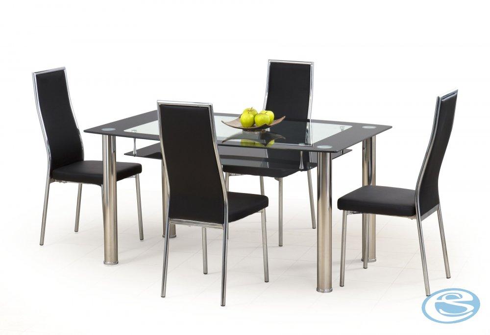 Skleněný jídelní stůl Cristal černý - HALMAR