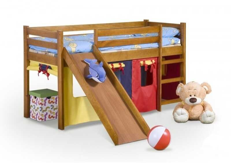 Dětská postel Neo Plus borovice se skluzavkou - HALMAR