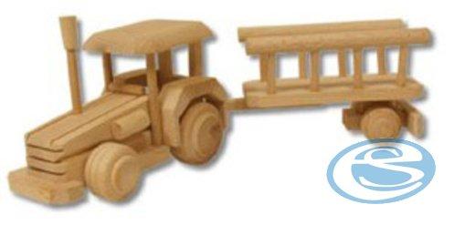 Dřevěná hračka traktor s vlečkou AD102 - Drewmax