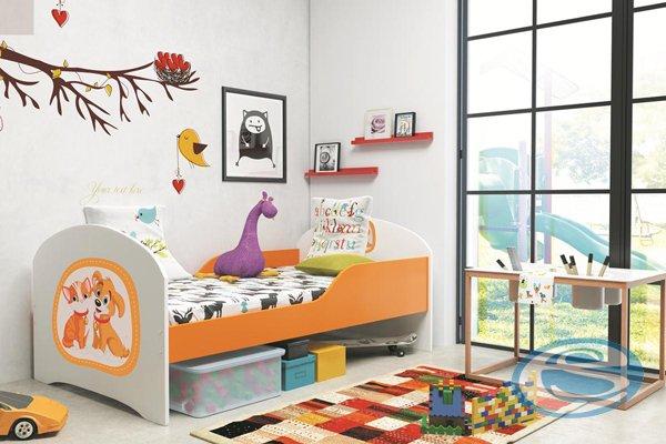 Postel Timi s matrací, roštem, zábrankou a motivem - BMS
