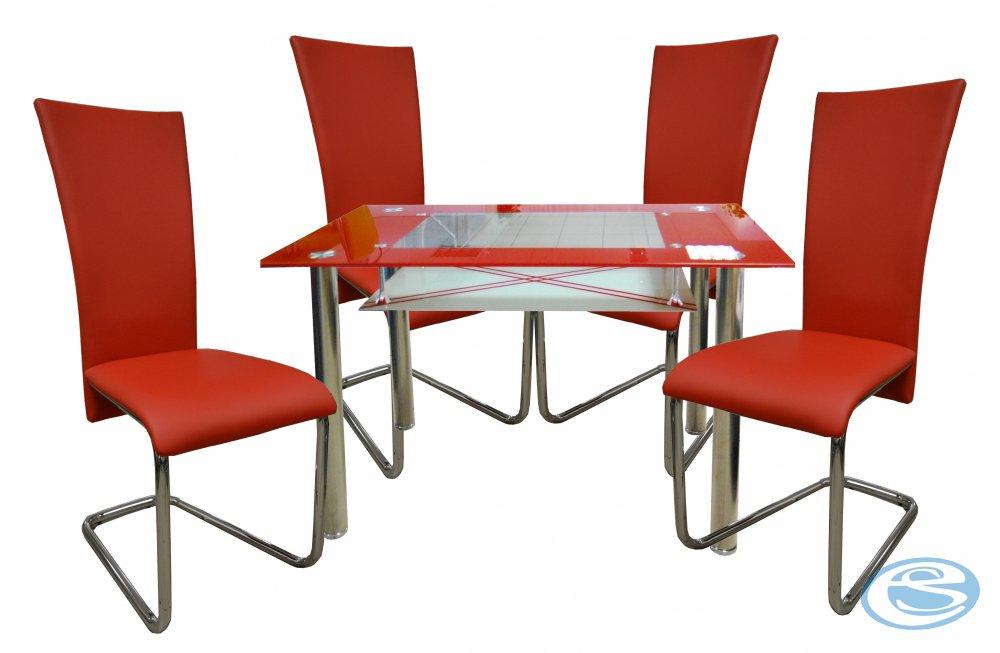 Jídelní sestava Monte Carlo 1+4 červená - FALCO
