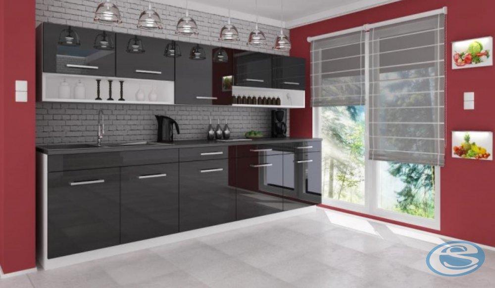 Kuchyňská linka Atractive červená vysoký lesk 260cm - FALCO