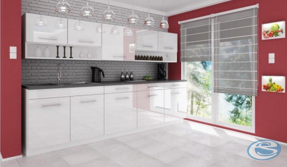 Kuchyňská linka Atractive bílá vysoký lesk 260cm - FALCO