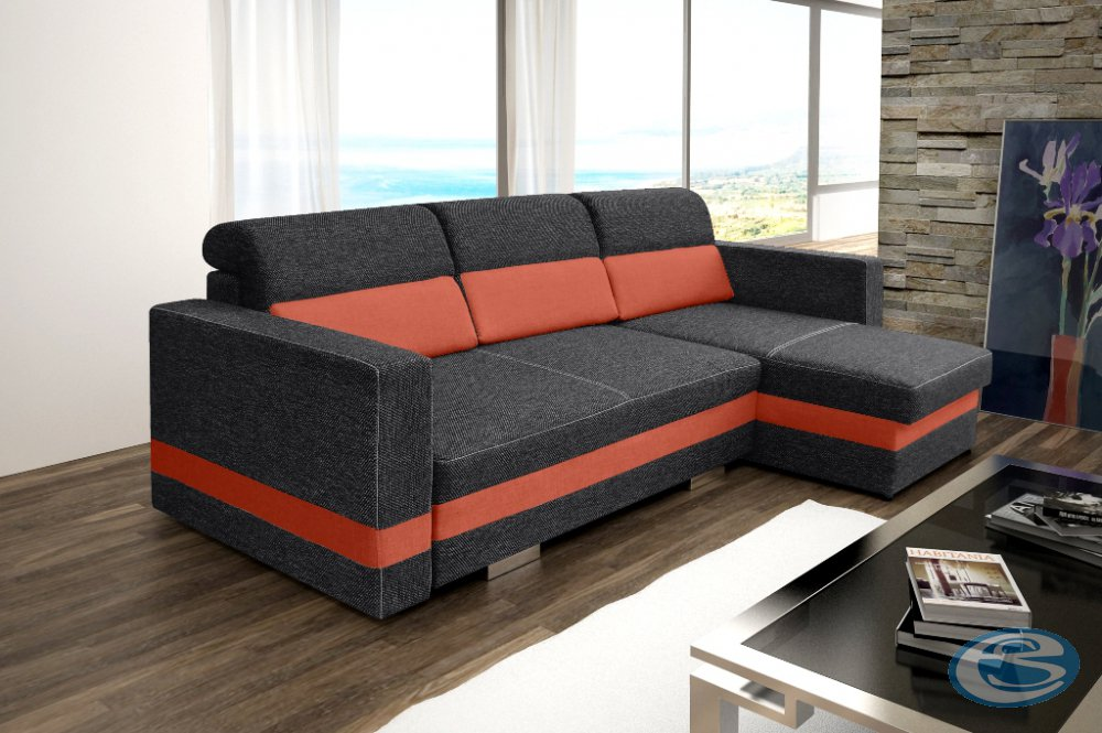 Rohová sedací souprava R-Mini šedo-oranžová - FALCO