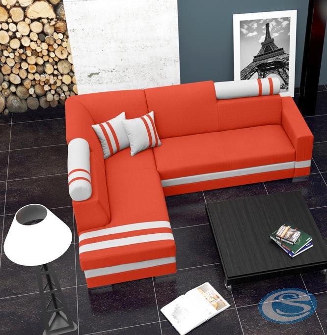Rohová sedací souprava R1 oranžovo-bílá - FALCO