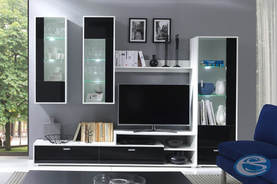 Obývací stěna Messa bílá/černý lesk - JUREK