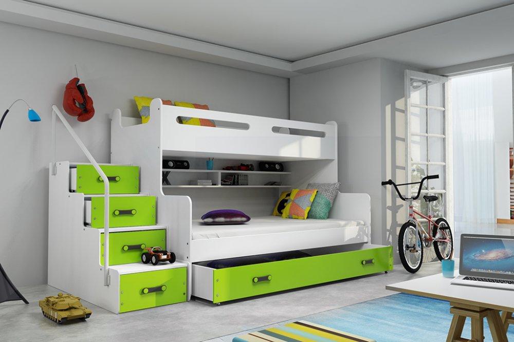 Patrová postel Max 3 x matrací PUR zelená - BMS
