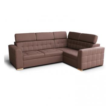 Rohová sedací souprava Kazara čokoládová pravá velký roh - TempoKondela