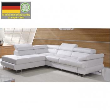 Rozkládací rohová sedací souprava s úložným prostorem, L provedení, ekokůže bílá, BUTON - TempoKondela