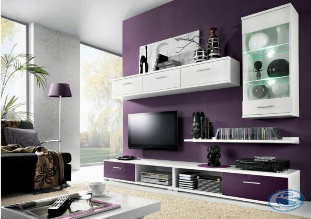 Obývací stěna Malibu bílá/fialový lesk - FALCO