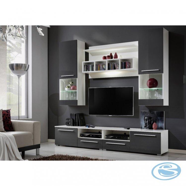 Obývací stěna WU-2020 bílá/šedý lesk - FALCO