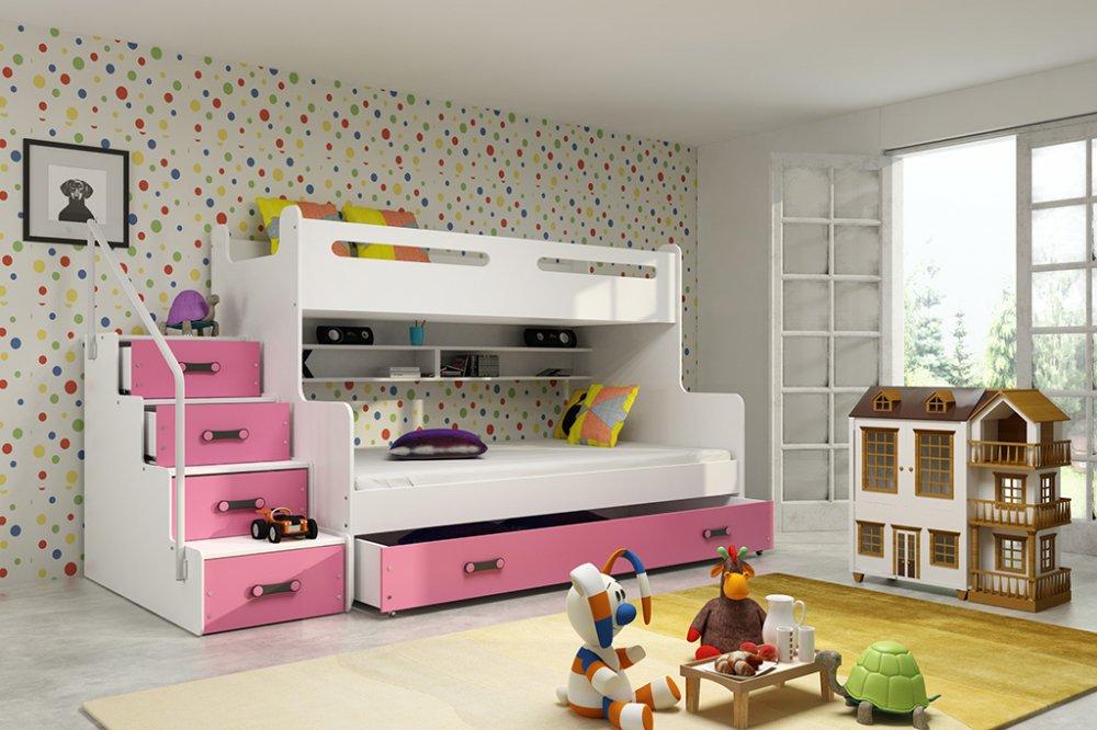 Patrová postel Max 3 x matrací PUR růžová - BMS