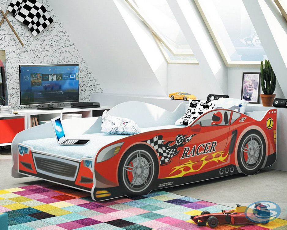 Dětská postel auto Cars červená 160x80 - BMS
