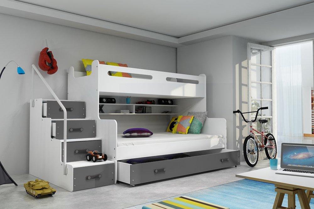 Dětská patrová postel Max 3 grafit - BMS