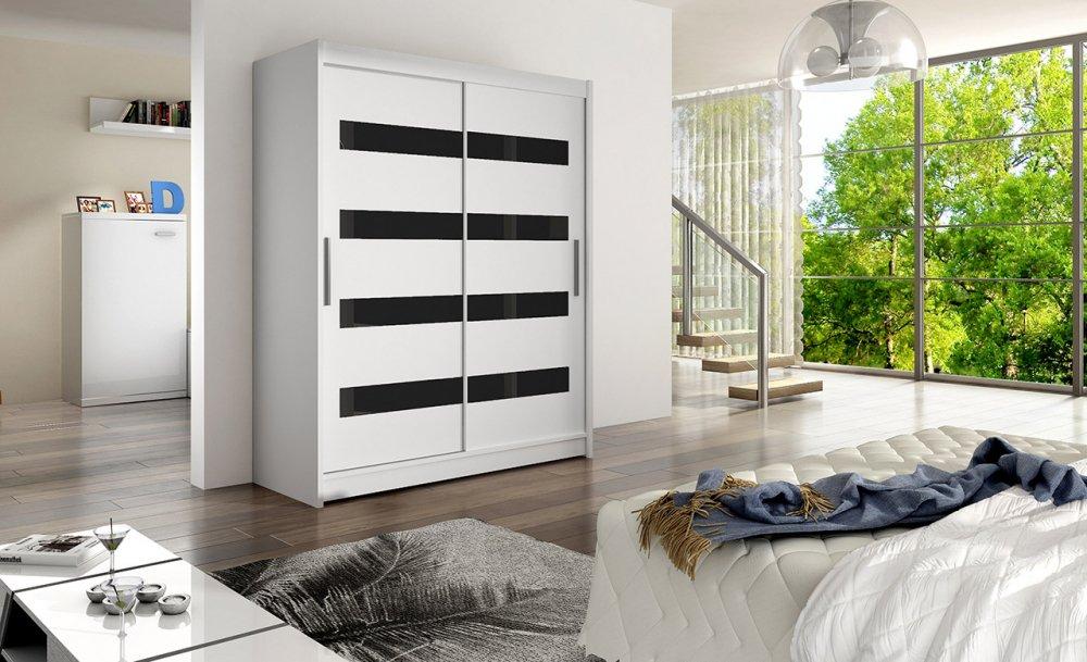 Šatní skříň Westa IV s posuvnými dveřmi se sklem - Ankon
