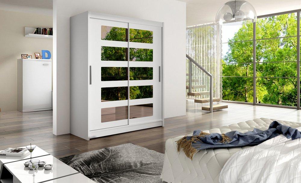 Šatní skříň Westa V s posuvnými dveřmi se zrcadlem - Ankon
