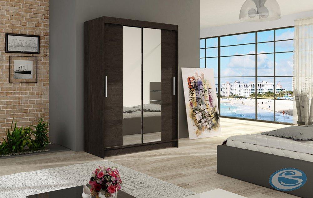 Šatní skříň Miami II s posuvnými dveřmi se zrcadlem - Ankon