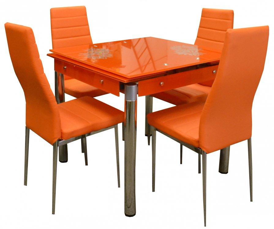 Jídelní set Kent 4+1 rozkládací oranžový - FALCO