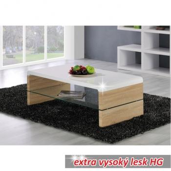 Konferenční stolek KONTEX 2 NEW dub sonoma/bílá extra vysoký lesk - TempoKondela