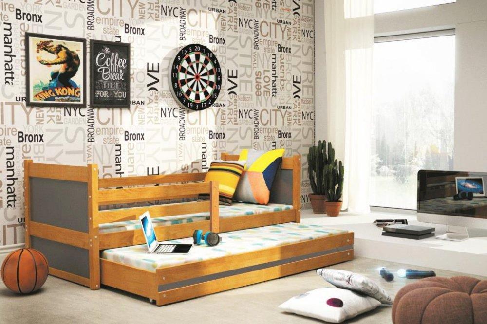 Dětská rozkládací postel Rico II 90x200 olše/grafit - BMS