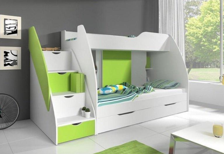 Dětská patrová postel Marcel zelená - FALCO