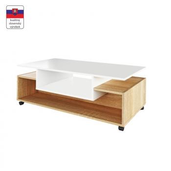 Konferenční stolek na kolečkách DALEN bílá/dub sonoma - TempoKondela