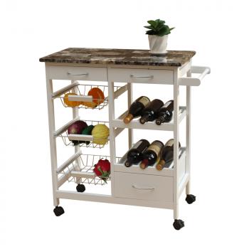 Servírovací stolek na kolečkách SEMIR bílá - TempoKondela