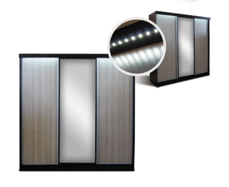 Skříň s posuvnými dveřmi a LED - FALCO