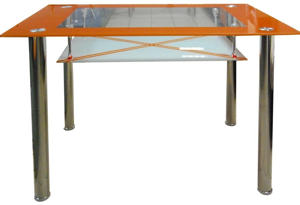 Jídelní stůl Cristal skleněný oranžový - FALCO